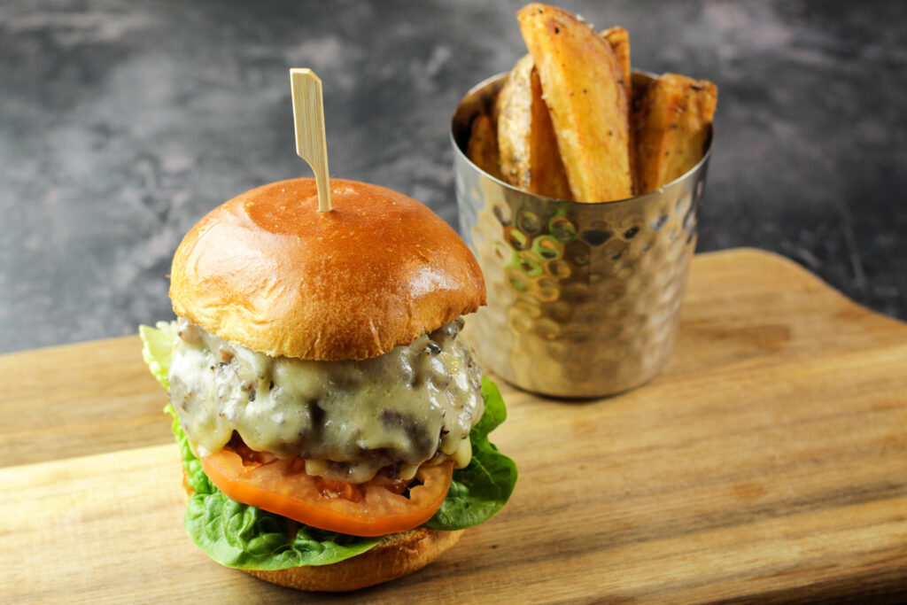Yes Chef Burger with Bacon Jam and thick cut fries
