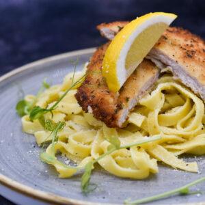 Parmesan Pork with Lemon and Garlic Pasta
