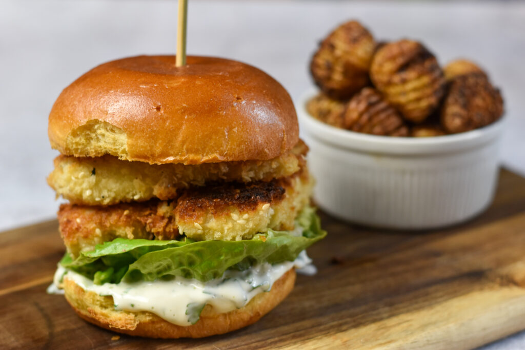 Crispy Fish Burger with Spicy Hasselback Potatoes